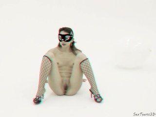 नकाबपोश लड़की खड़ी है और एक स्टूडियो में फैल - 3 डी पोर्न मंच के पीछे